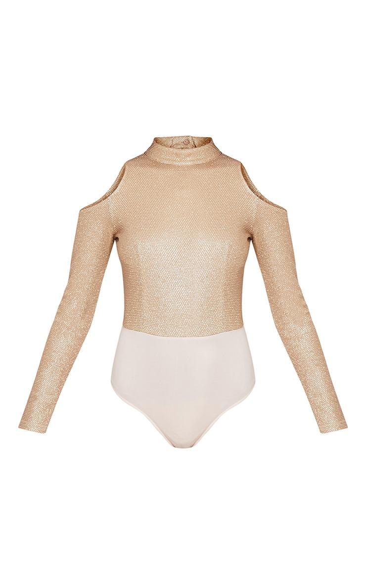 Justeen body-string épaules dénudées résille en lurex doré 3