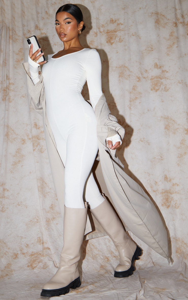 Recycled Cream Contour Jersey Thumbhole Scoop Neck Jumpsuit 3