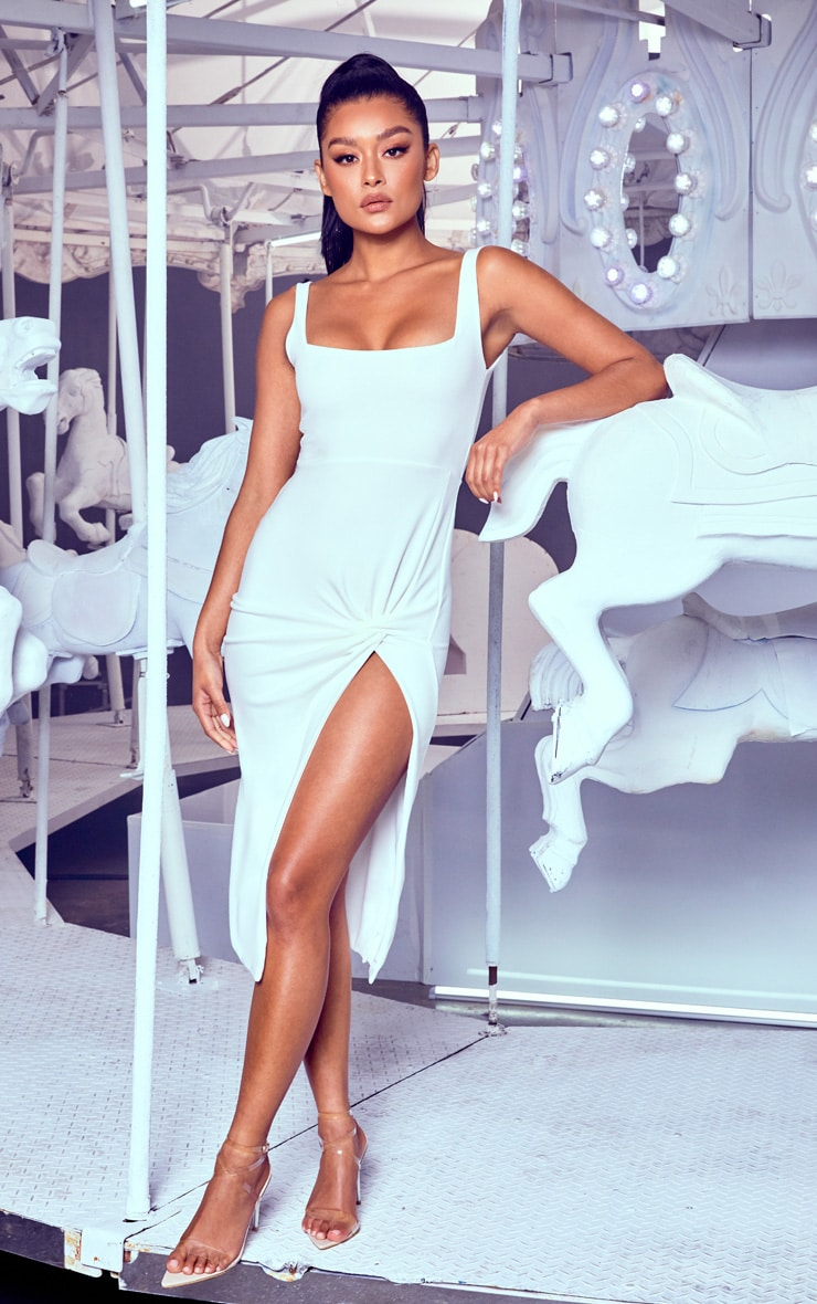 White Twist Extreme Split Midi Dress
