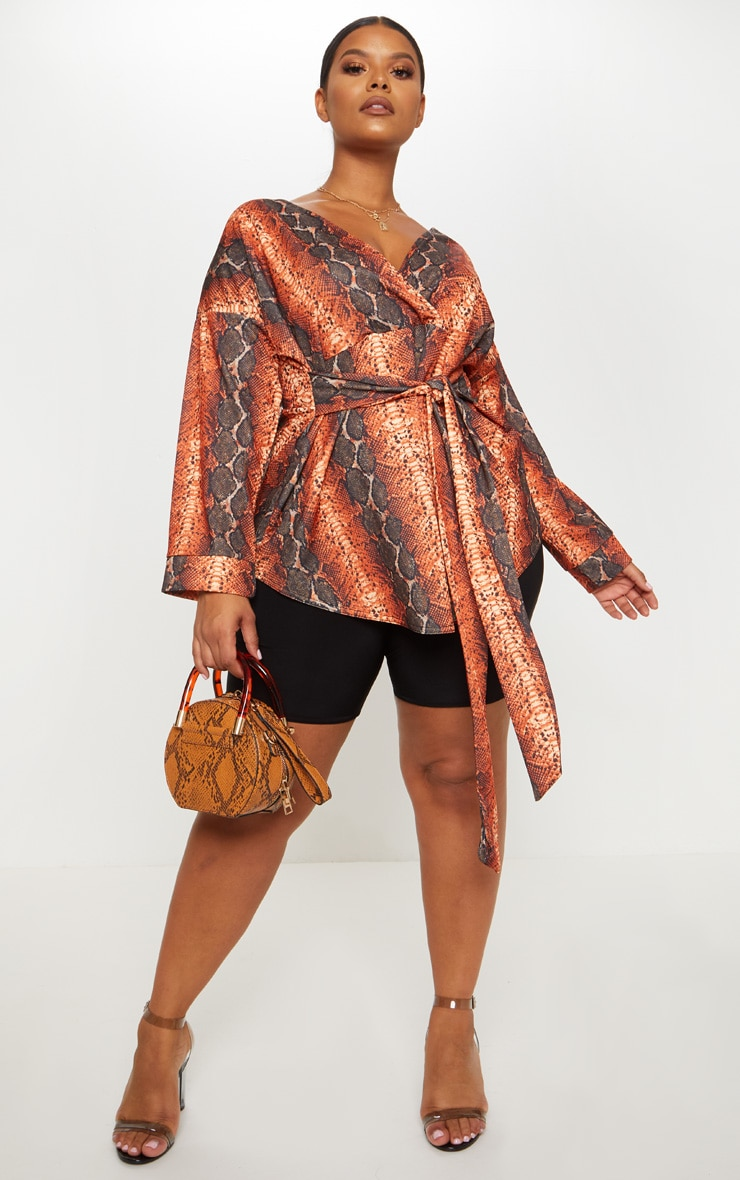 Plus Orange Snake Print Tie Waist Blouse 3