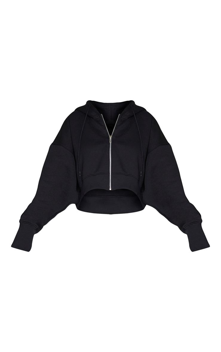 Black Oversized Zip Through Rib Cuff Cropped Hoodie 5