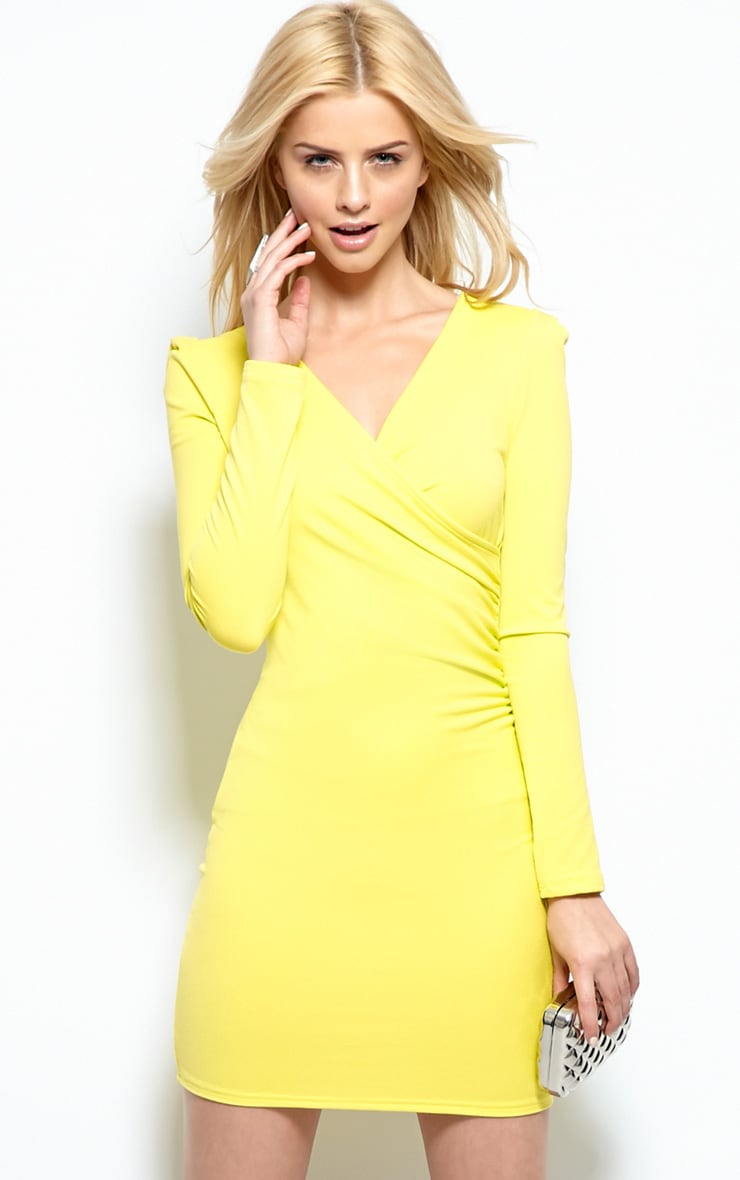 Mina Lime Crossover Bodycon Dress 1