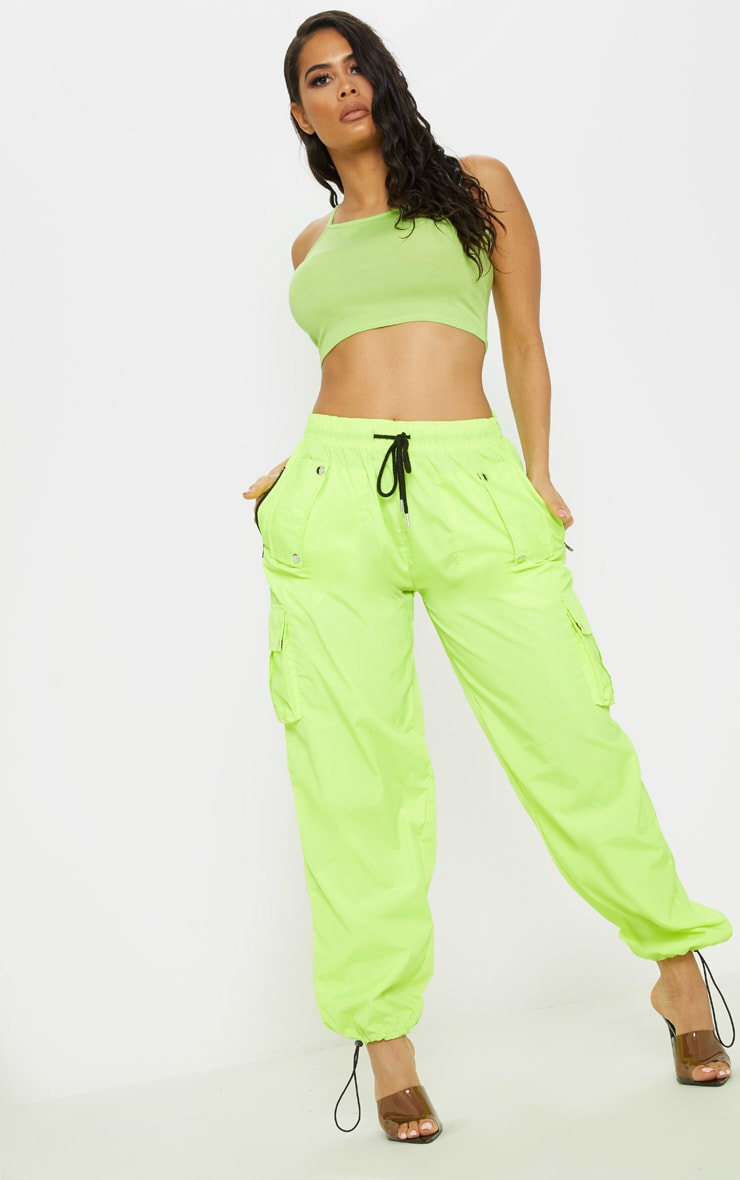 Neon Lime Basic Jersey Racer Neck Crop Top 4