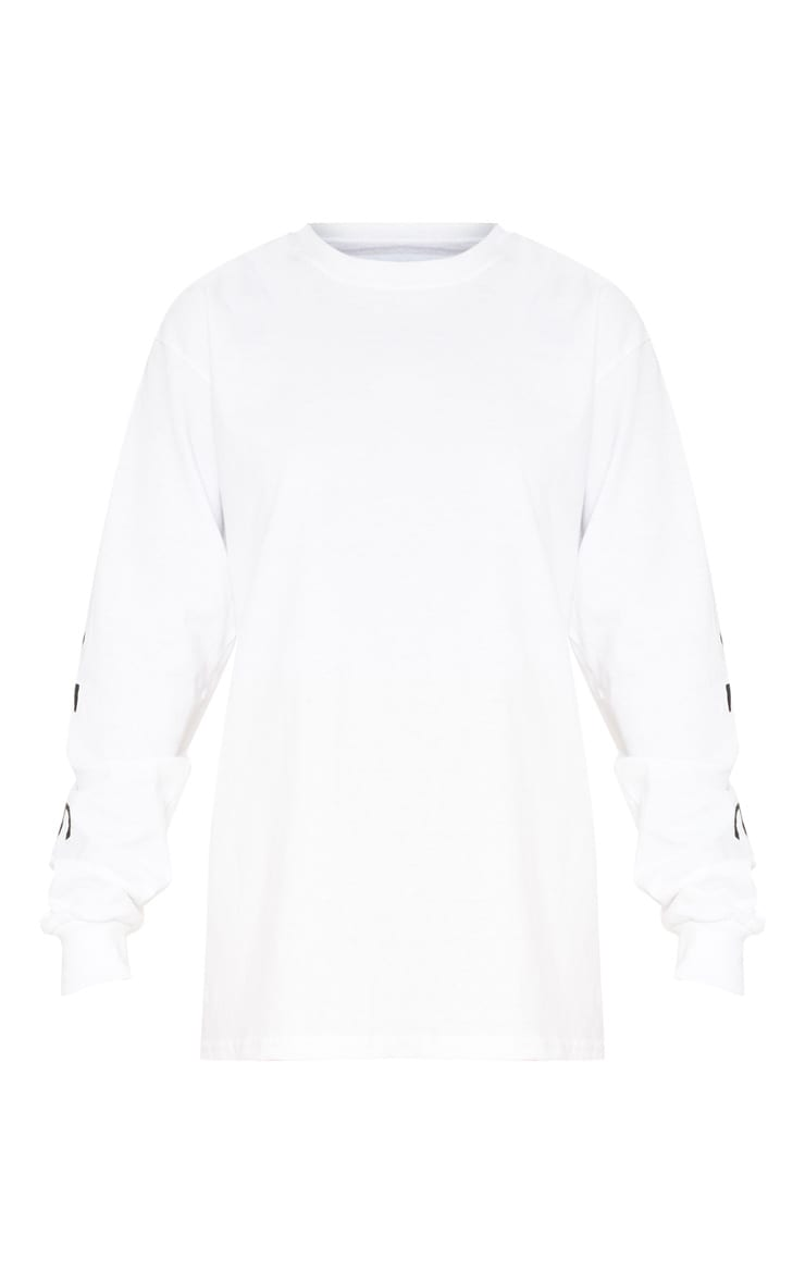 PRETTYLITTLETHING White Slogan Long Sleeve Top 3