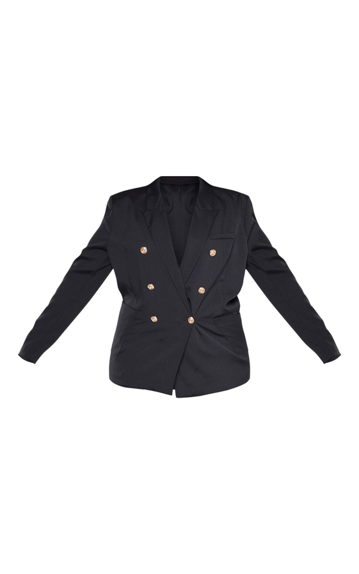 Plus Black Double Breasted Military Style Woven Blazer 3