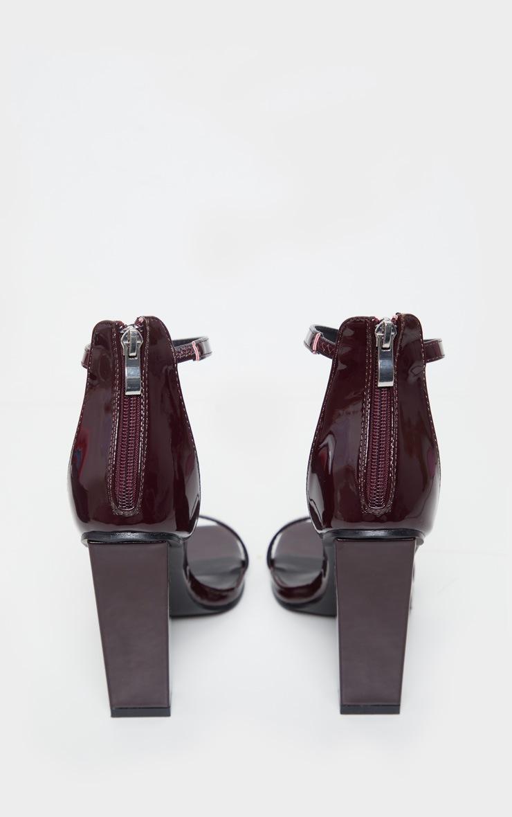 Burgundy Square Toe High Block Heel Sandal 4