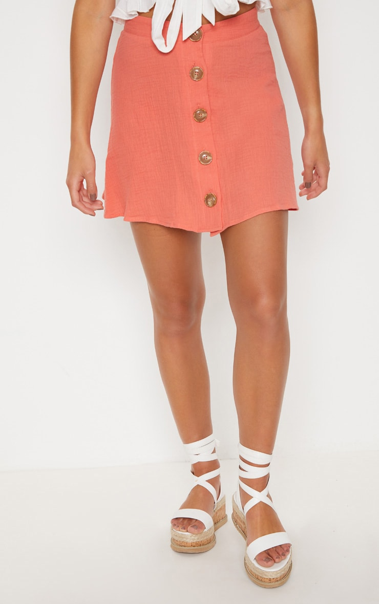 Coral Button Front Linen Feel Mini Skirt 2