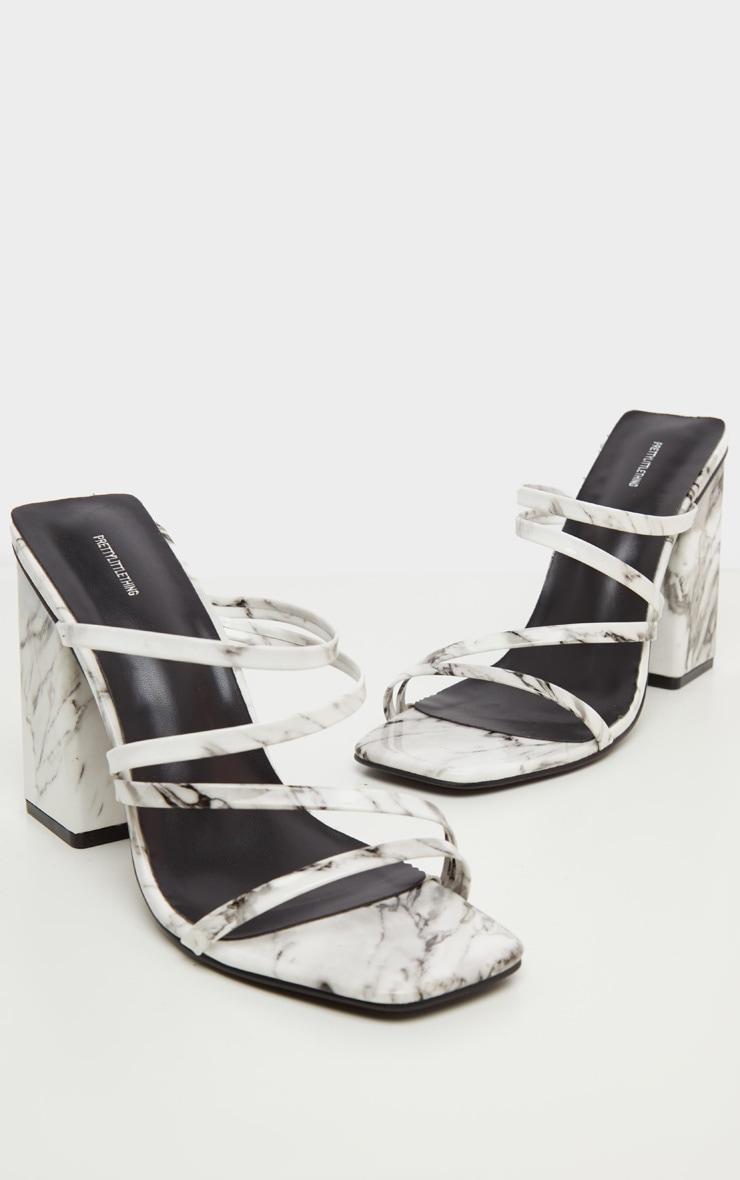 Marble Block Heel Strappy Mule Sandal 3