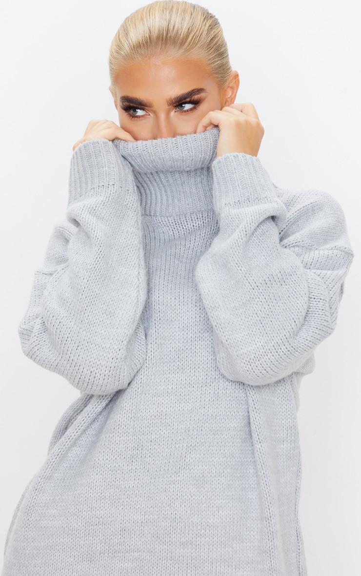 Grey High Neck Fluffy Knit Jumper 5