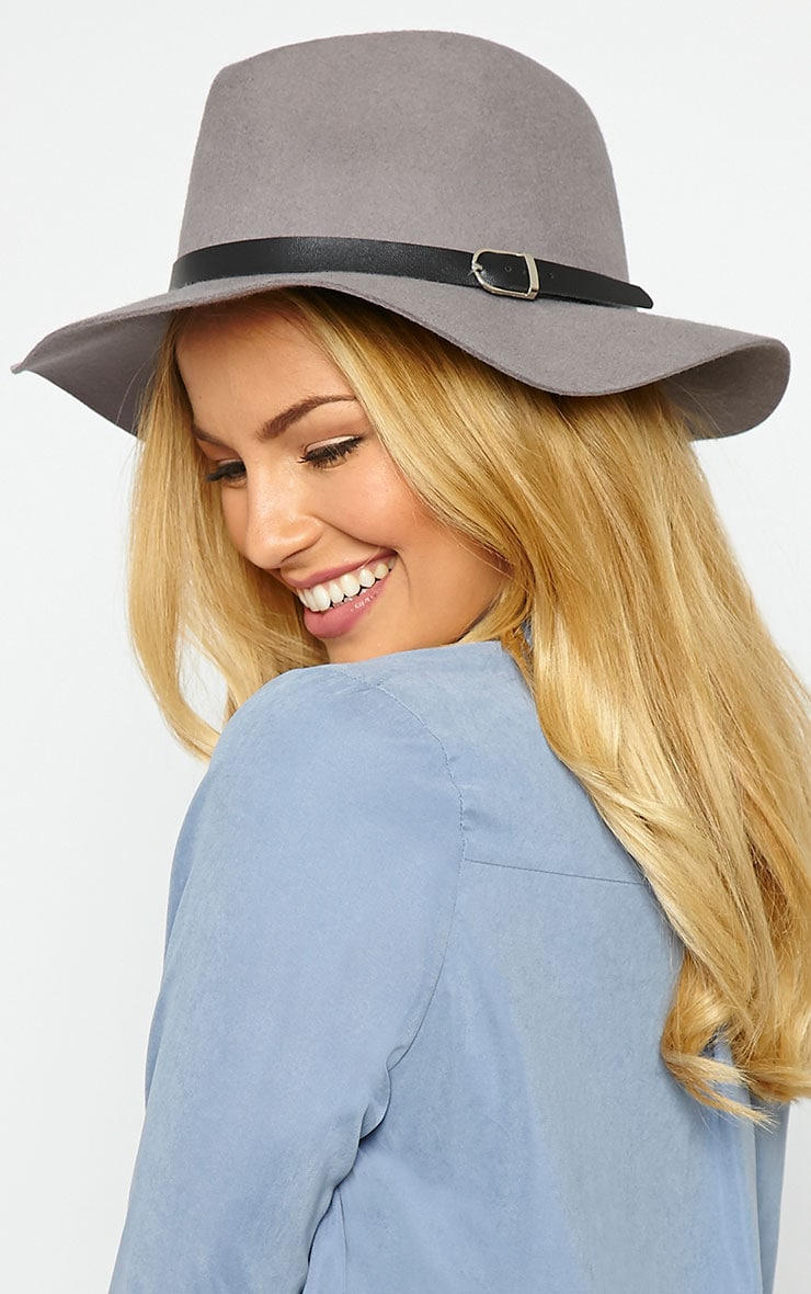 Mona Grey Wool Fedora Hat 1