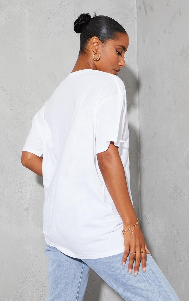 PRETTYLITTLETHING Cream Teddy Print T Shirt 2