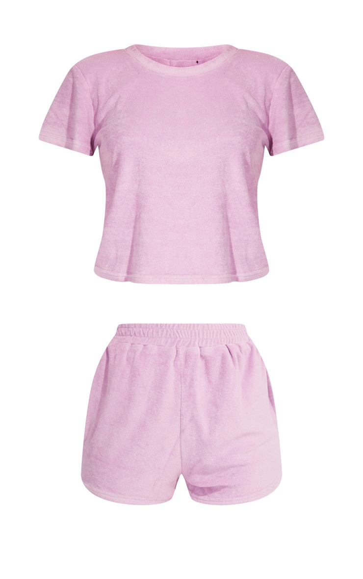 Lilac Towelled Top And Shorts Pj Set 5
