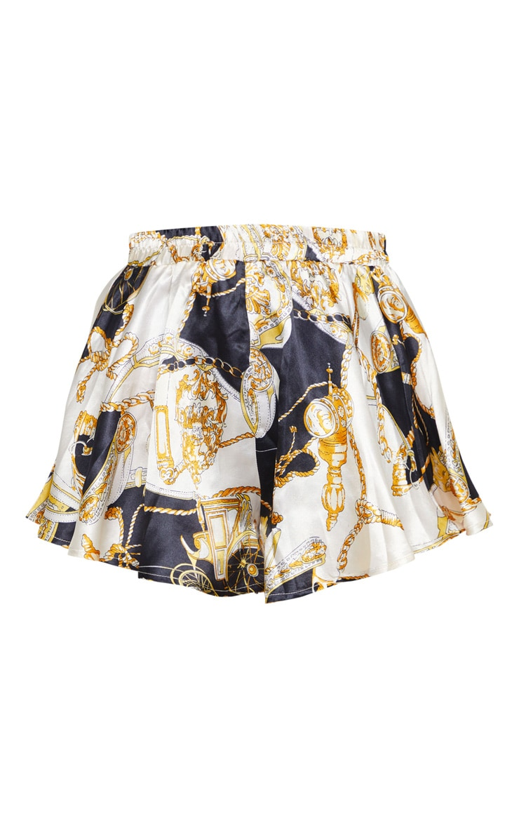 Cream Satin Chain Print Floaty Shorts 3