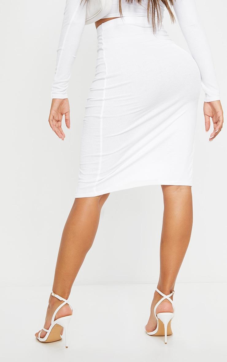 Shape Cream Soft Rib Split Detail Midi Skirt 3