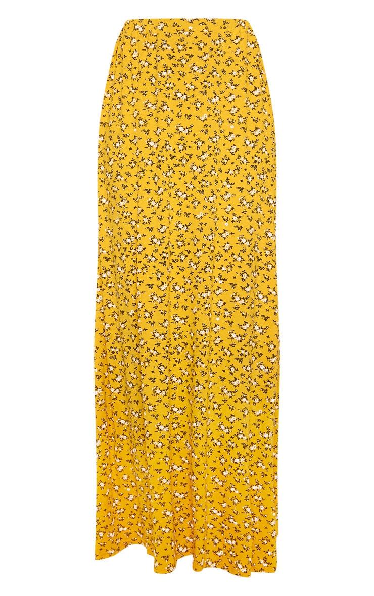 Mustard Ditsy Floral Print Basic Maxi Skirt 3