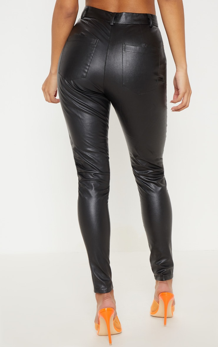 Black Faux Leather Lace Up Front Skinny Pants 4