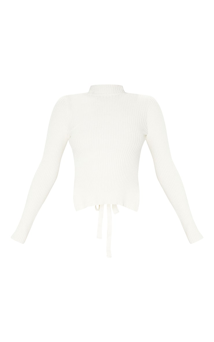 Cream Tie Back Knitted High Neck Top 5