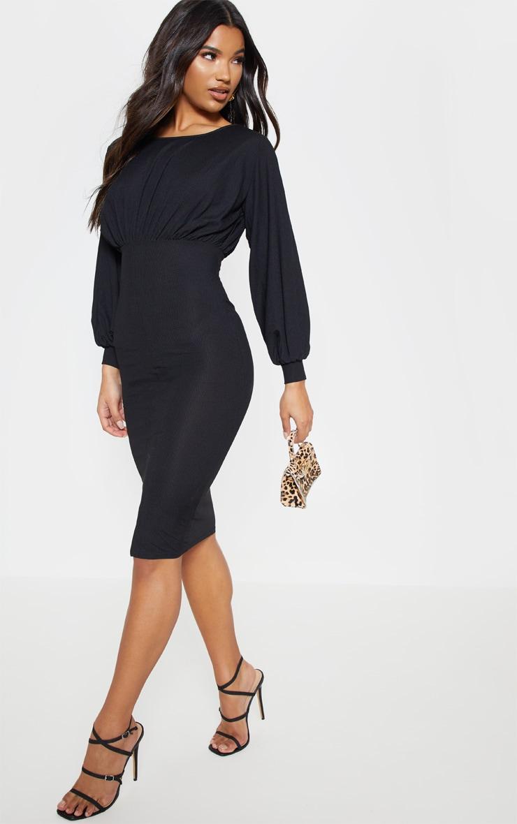 Black Rib Balloon Sleeve Midi Dress 1