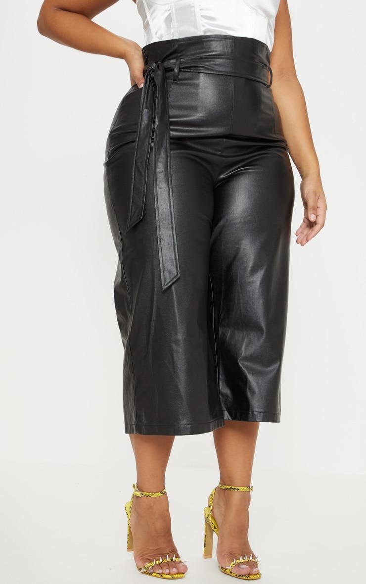 Plus Black Faux Leather Belt Detail Culotte  2