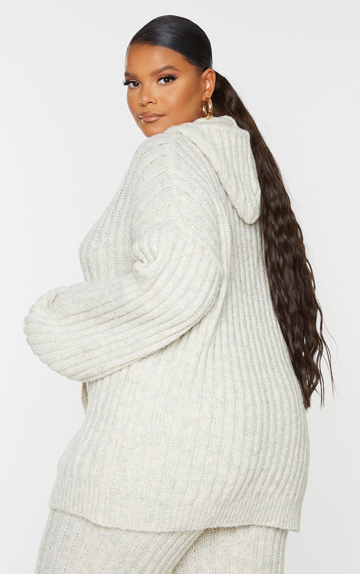 Plus Oatmeal Ribbed Chunky Knit Oversized Hoodie 2