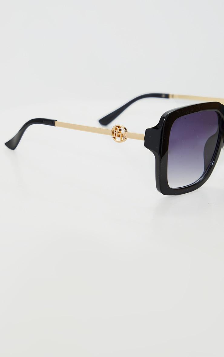 PRETTYLITTLETHING Black Branded Oversized Square Sunglasses 3