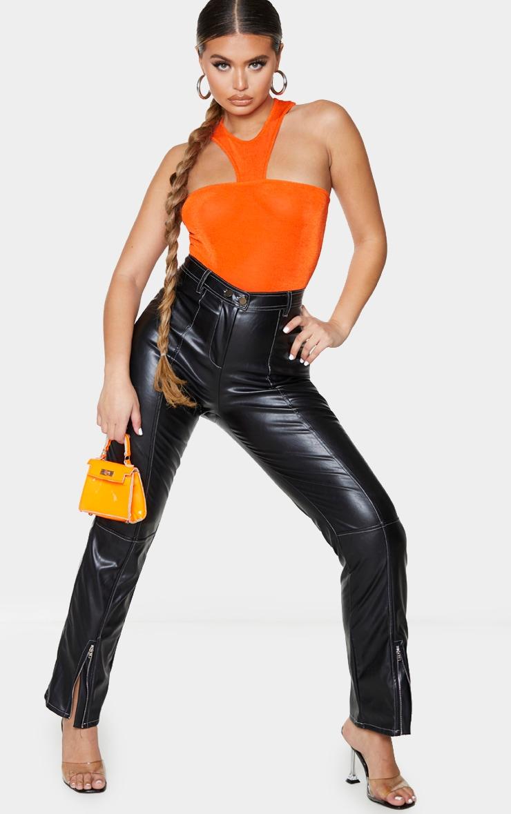 Hot Orange Acetate Slinky Cut Out Neck Bodysuit 1