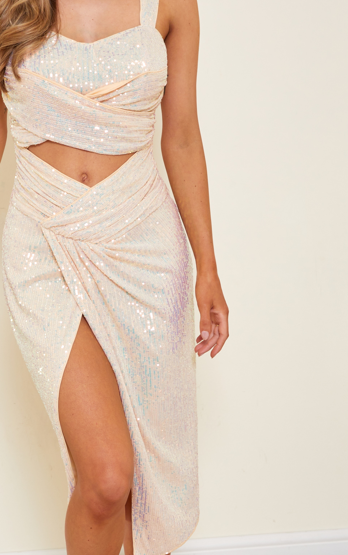 Nude Sequin Cut Out Twist Detail Sleeveless Midi Dress 5