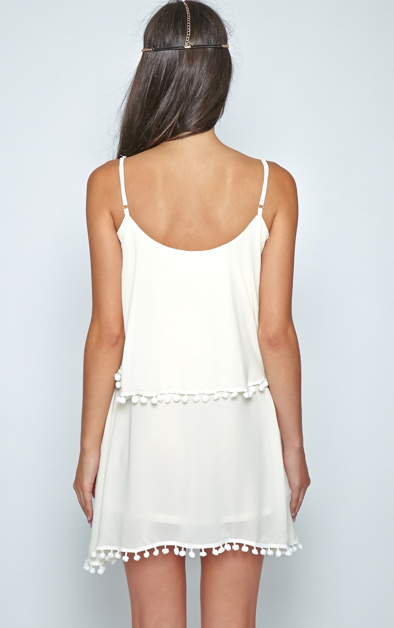 Harper Cream Pom Pom Frill Dress 2