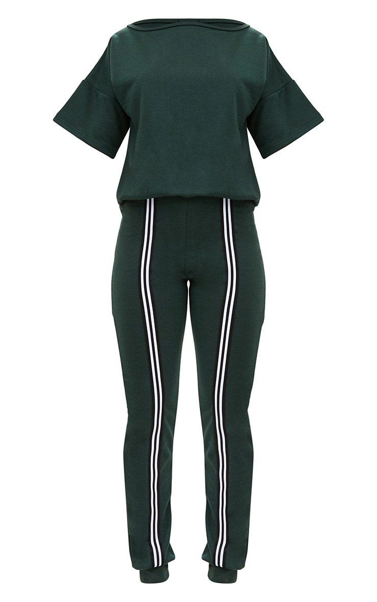 Forest Green  Loop Back Sports Stripe Jumpsuit 3