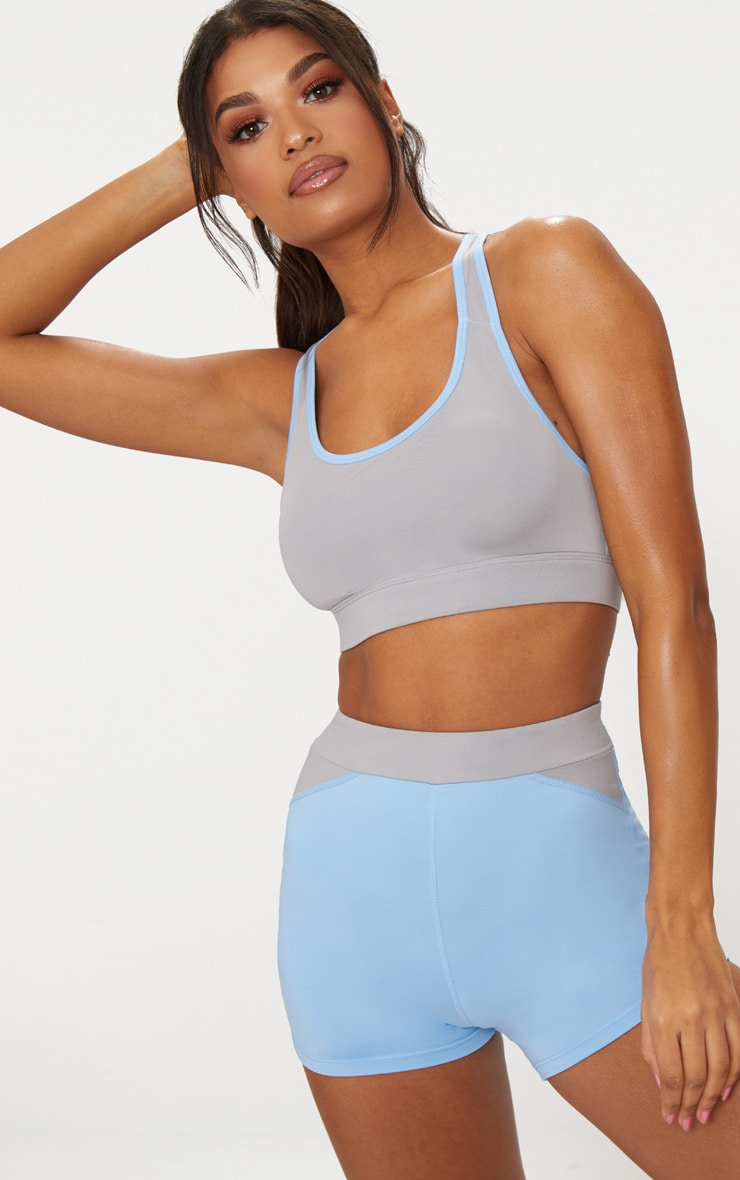 Grey Binding Crop Top 2