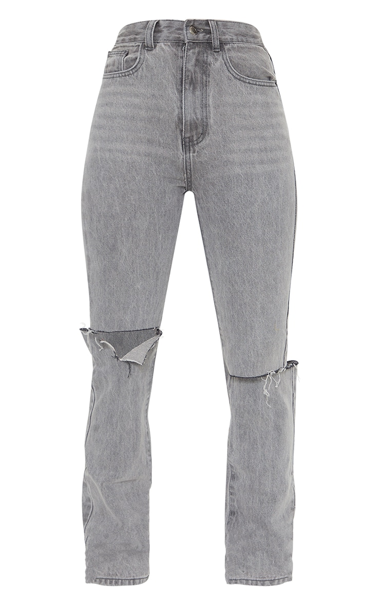 Washed Grey Slash Knee Long Leg Straight Leg Jean 5