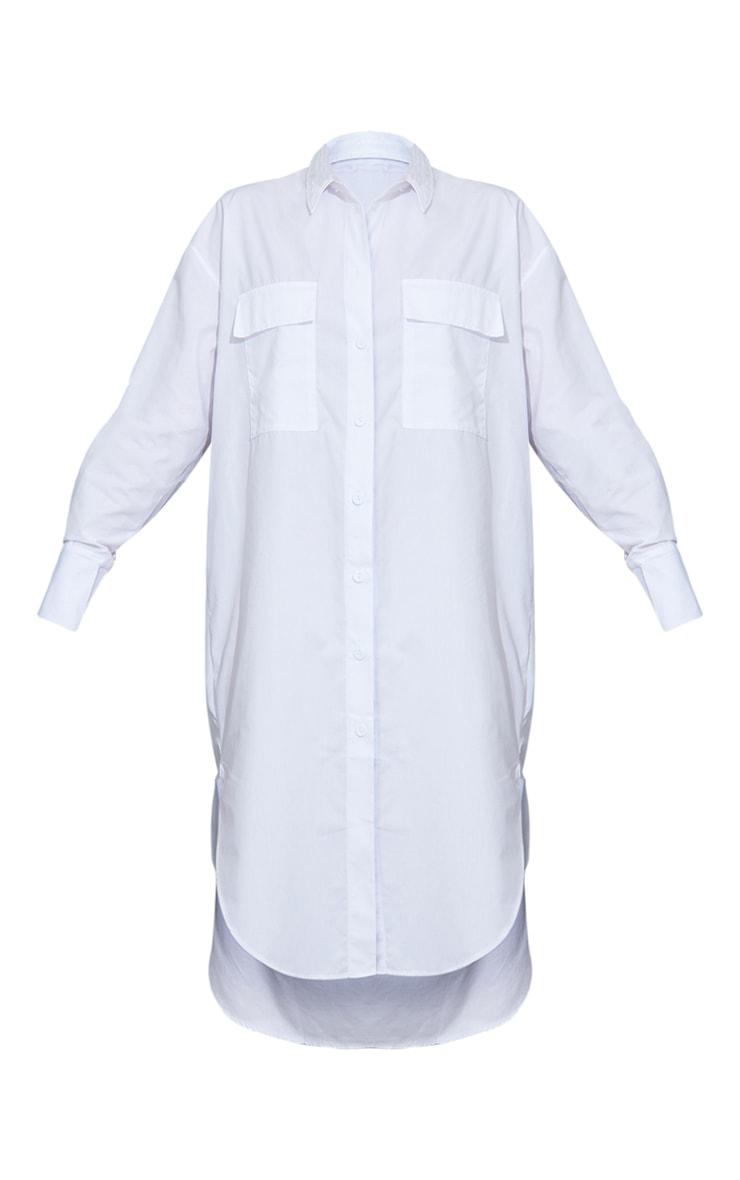 White Deep Pocket Drop Hem Midi Shirt Dress 5
