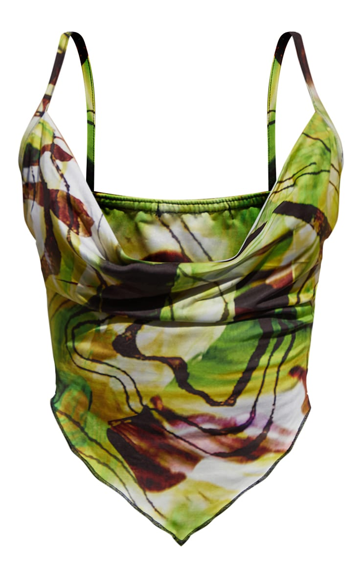 Lime Abstract Swirl Print Slinky Cowl Neck Pointed Hem Crop Top 5
