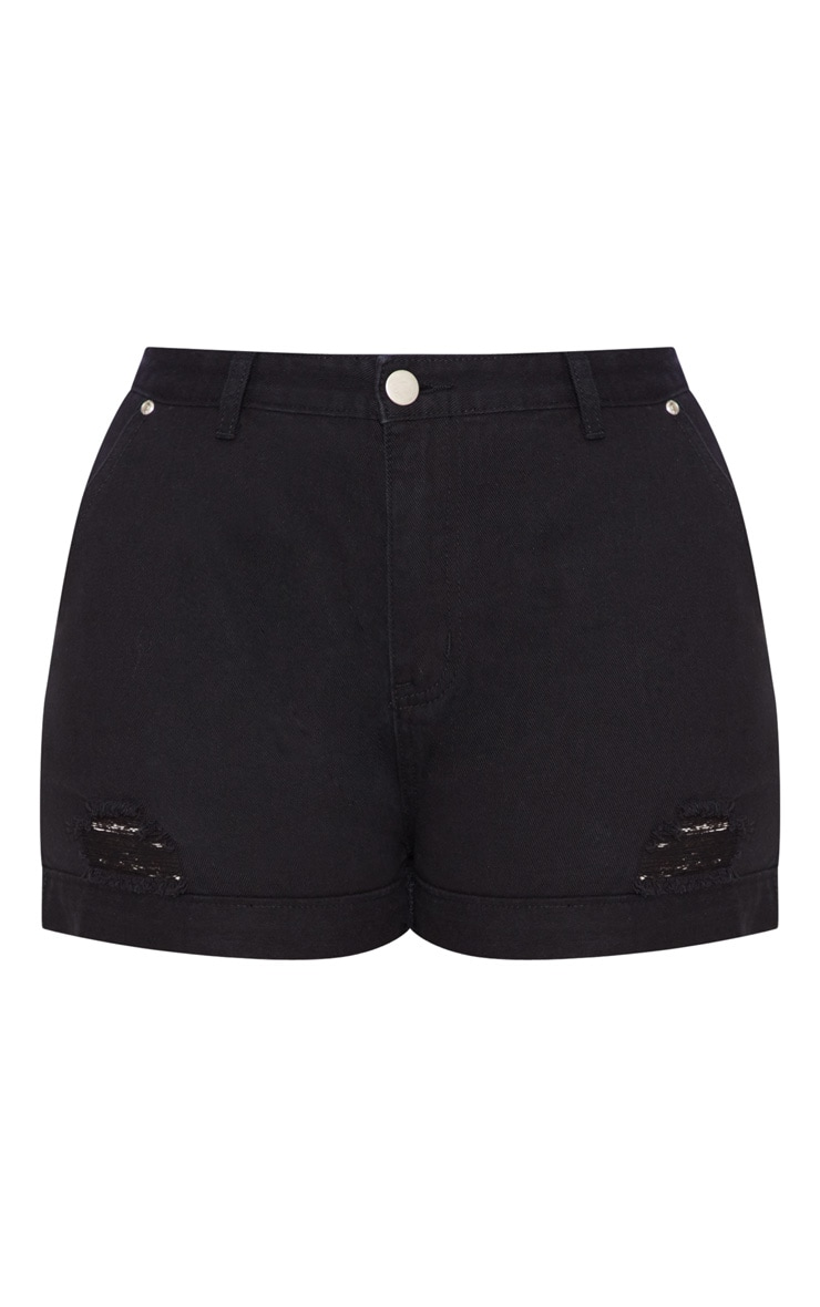 Plus Black Turn Up Hem Denim Shorts 3