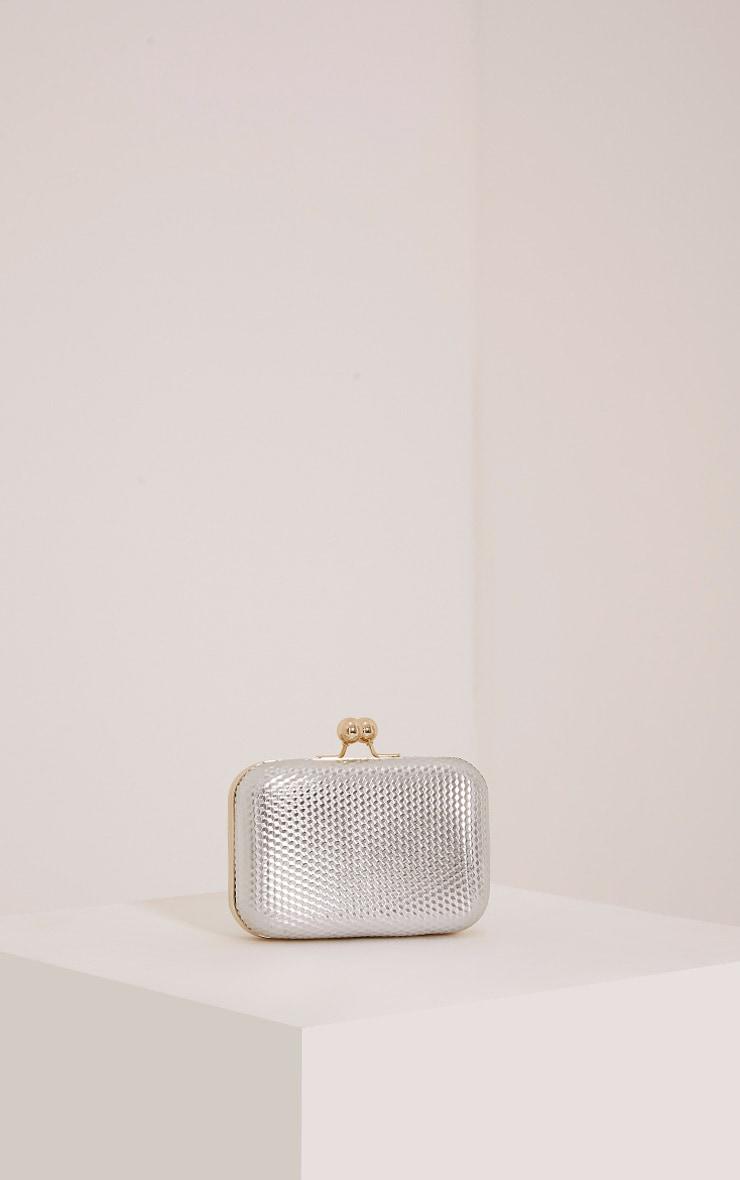 Morgan Silver Box Clutch Bag 1