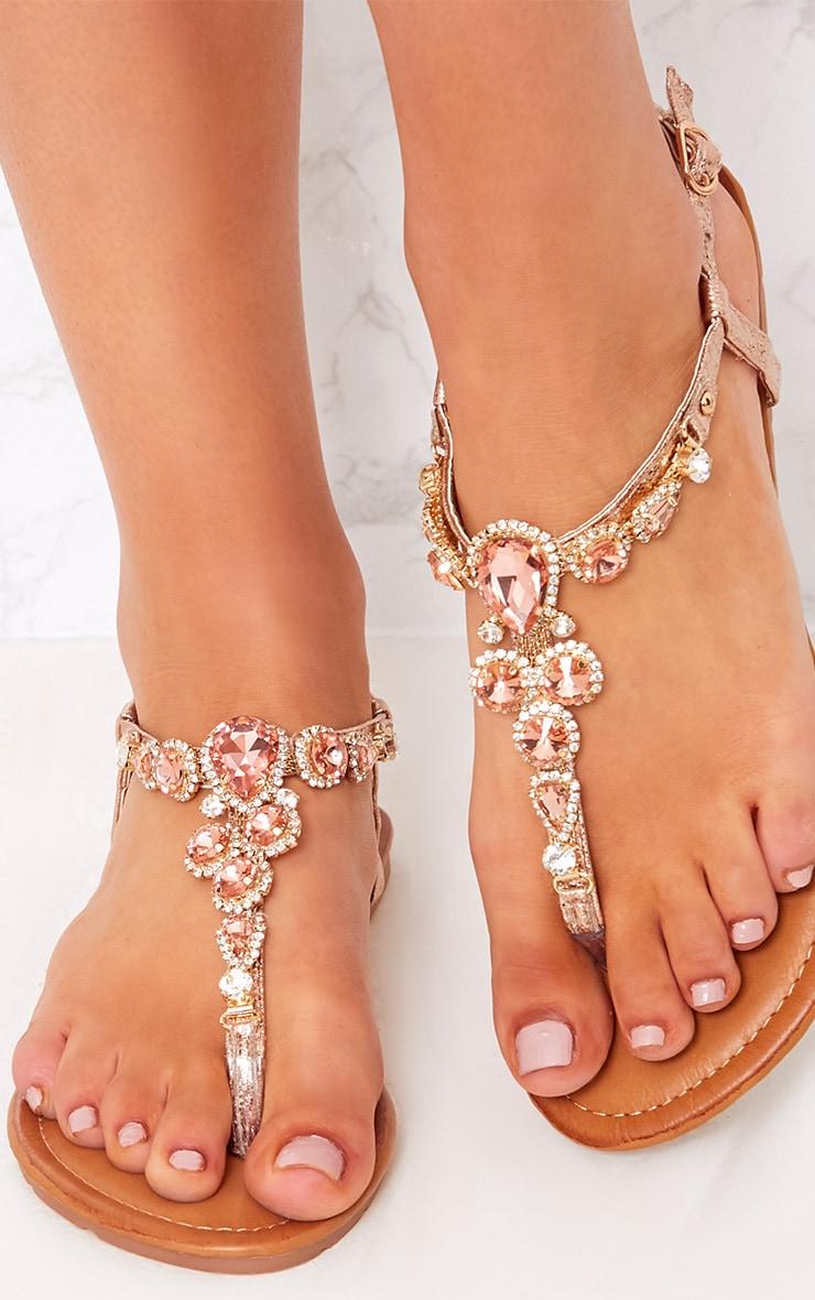 Adela Rose Gold Jewelled Sandals 5