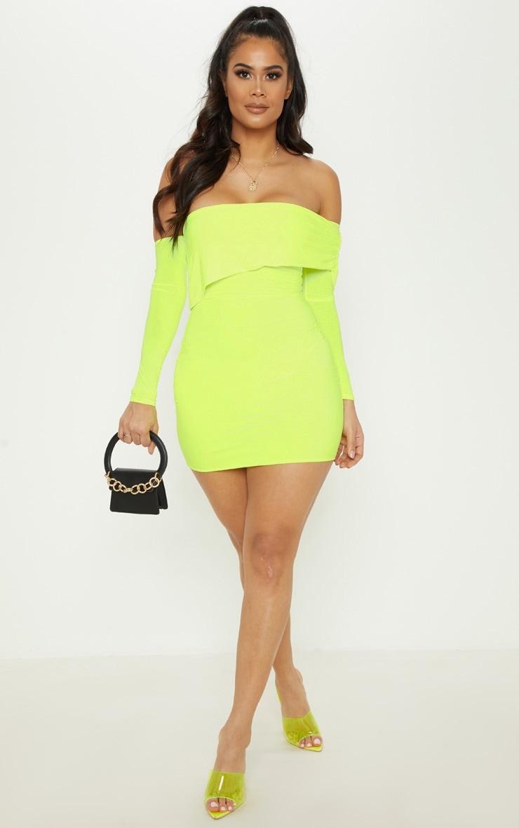 Neon Lime Slinky Fold Over Bodycon Dress 1