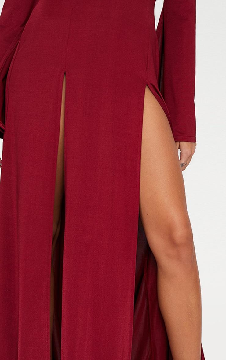 Burgundy Plunge Extreme Double Split Long Sleeve Maxi Dress 5