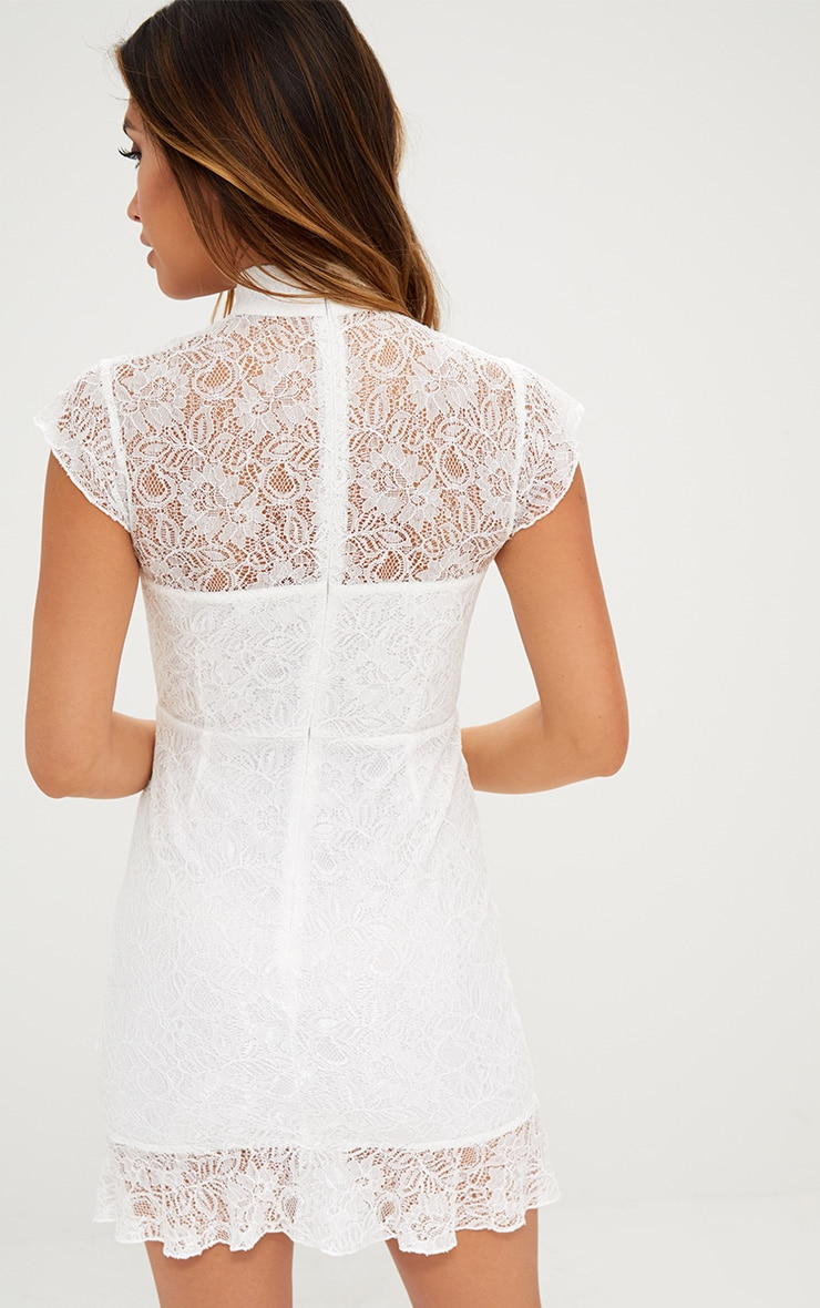 White Lace Ring Detail Frill Hem Bodycon Dress  2