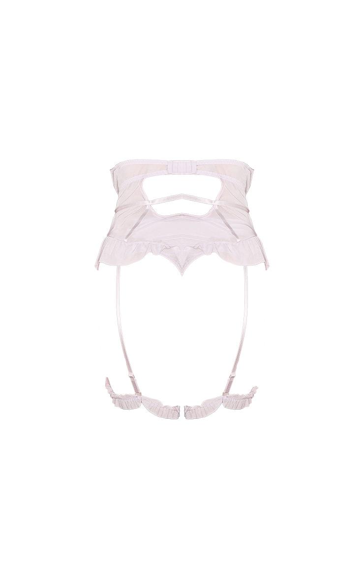 Plus Lilac Eyelash Lace Strapless Bodysuit With Suspender Straps 6