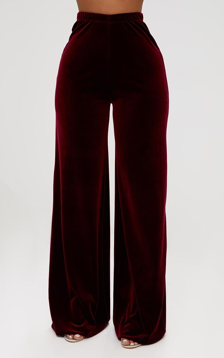 Shape Wine Velvet Wide Leg Trousers  2