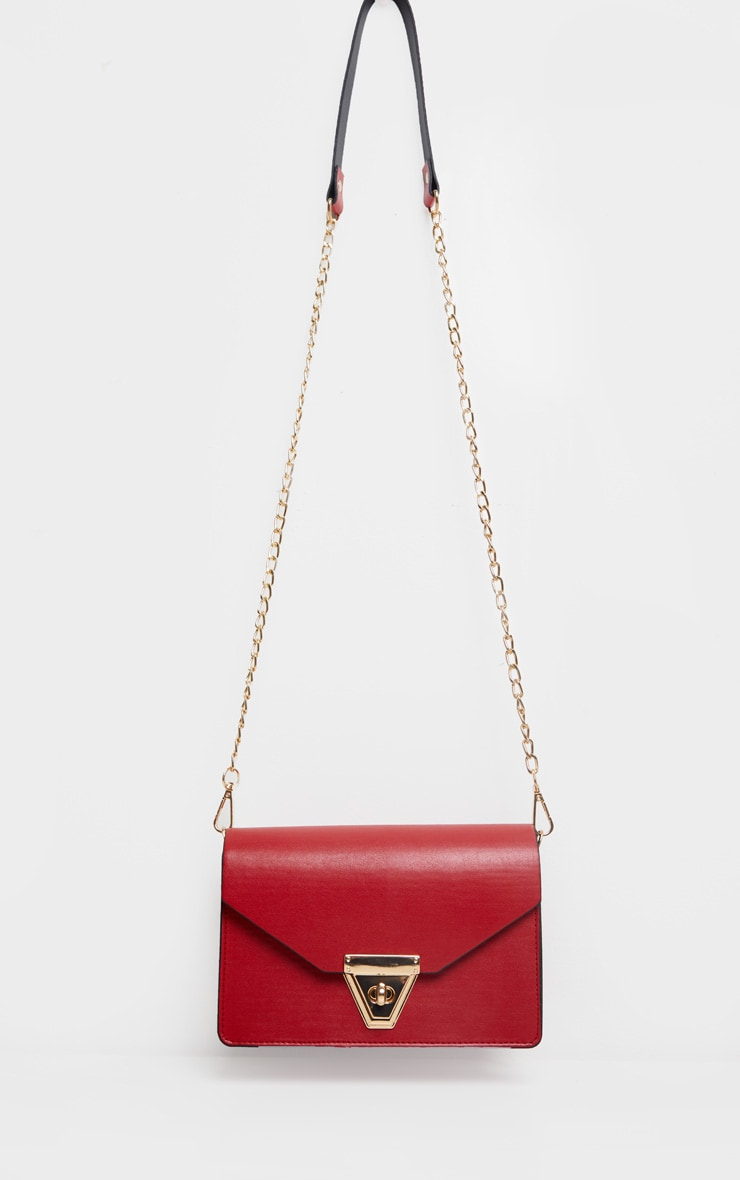 Red PU Envelope Cross Body Bag 2