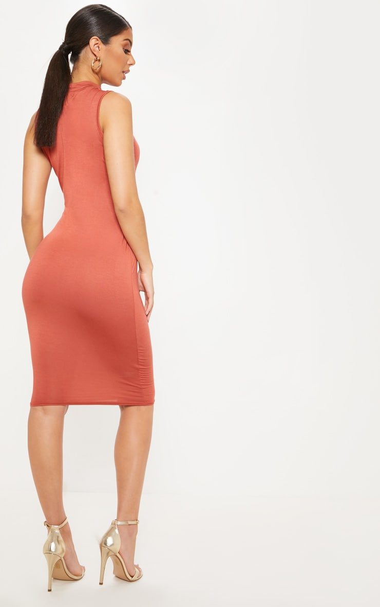 Terracotta High Neck Sleeveless Midi Dress 2