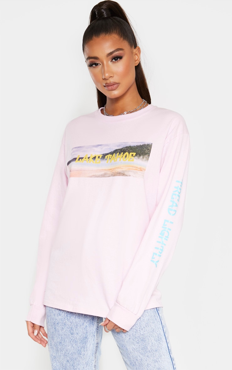 Light Pink Lake Tahoe Slogan Long Sleeve T Shirt 4