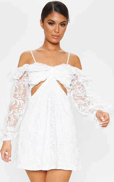White Lace Cold Shoulder Plunge Shift Dress