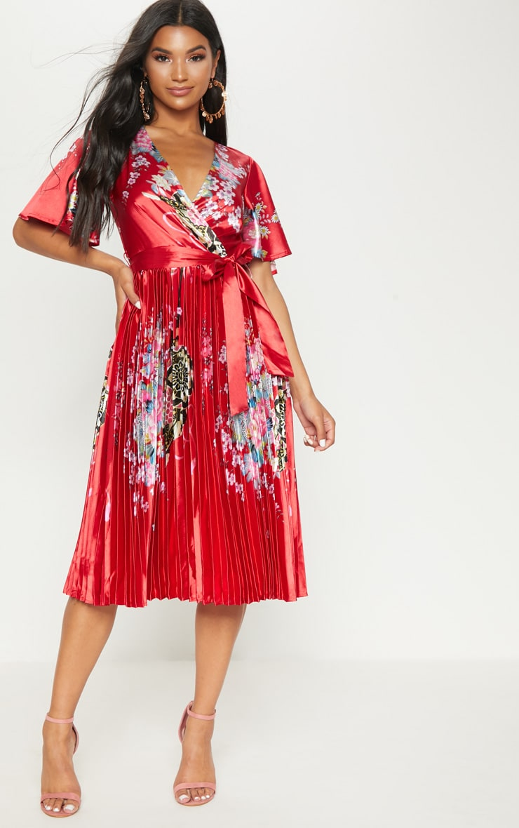 Red Floral Satin Pleated Midi Dress 1