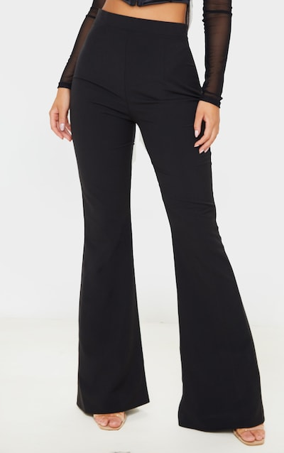 Black Woven Flare Leg Trouser