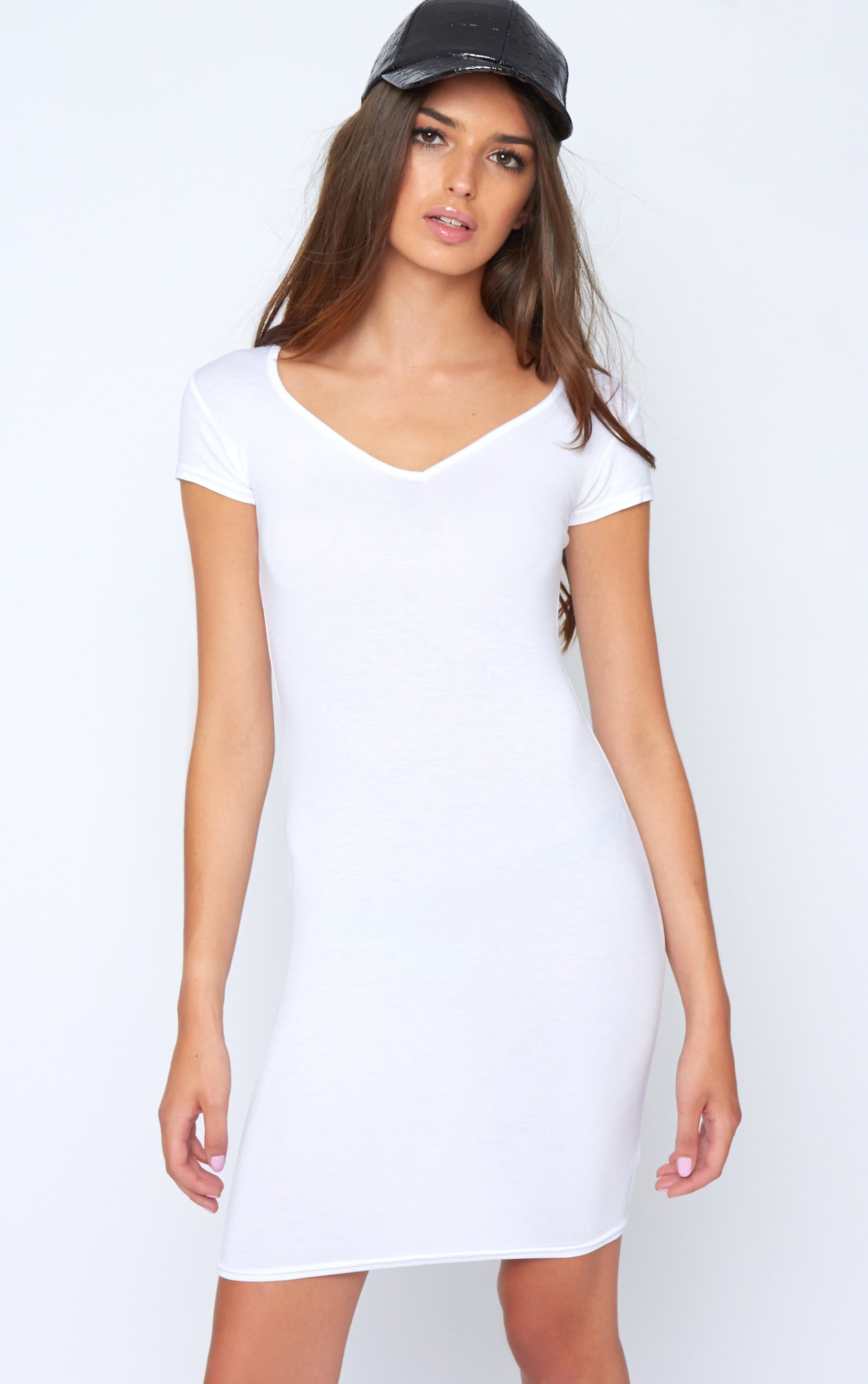 Finola White Jersey V Neck Dress 1