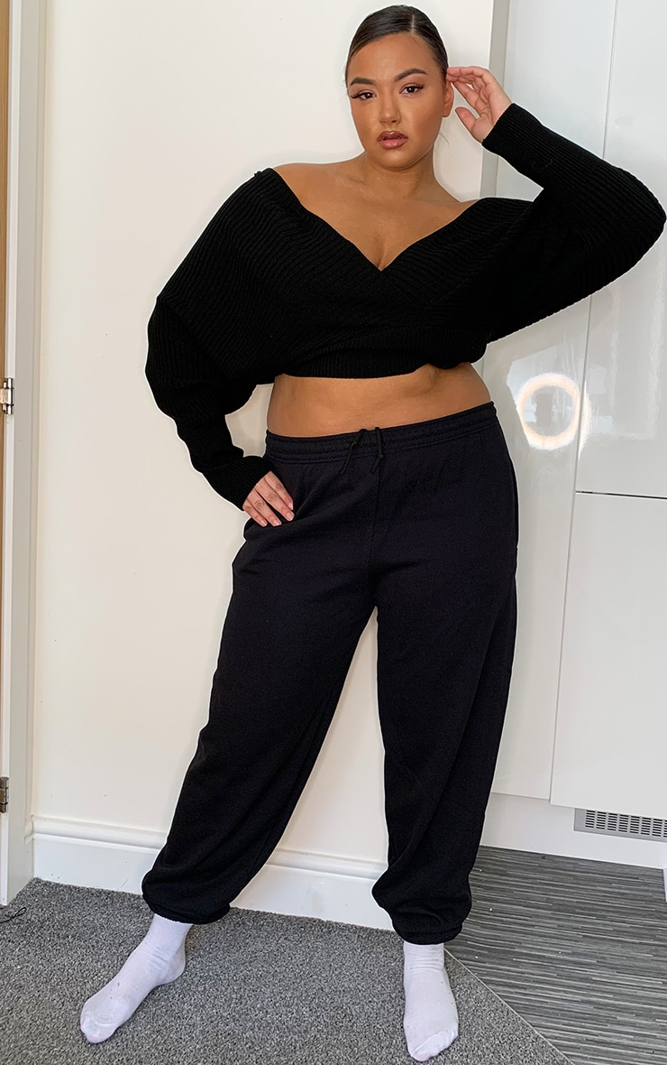 Plus Black Wrap Off The Shoulder Sweater 3