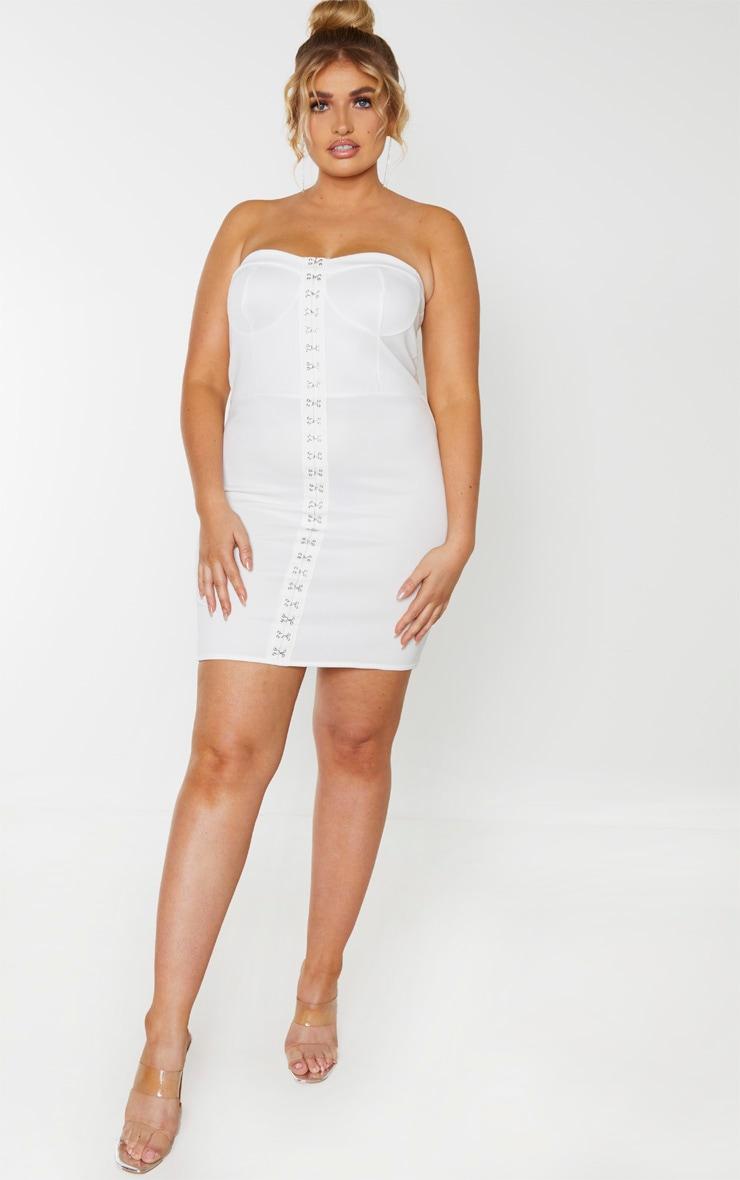 Plus Ivory Eyelet Bandeau Bodycon Dress  1